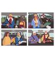 man and woman driving car winter road trip vector image
