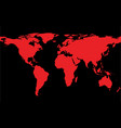 map of the world with red continents vector image vector image