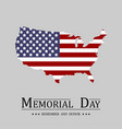 memorial day usa map flag in flat design on light vector image vector image