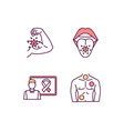 oncology rgb color icons set vector image