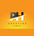 ph p h letter modern logo design with yellow vector image vector image