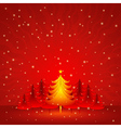 red christmas card with forest of pine vector image vector image