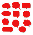 Red speech bubble set isolated
