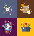 Set of Flat Design with Kitchen Appliances and vector image