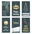 Set of hand draw Christmas cards vector image