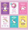 set unicorn birthday invitation cards vector image vector image