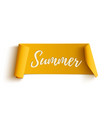 Summer yellow curved ribbon vector image vector image