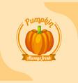 vegetable pumpkin always fresh emblem vector image