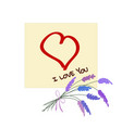 yellow sticker with drawned heart bouquet of vector image vector image