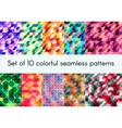 Set of 10 colorful seamless patterns vector image