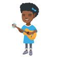 african girl singing and playing acoustic guitar vector image vector image