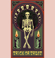 art nouveau invitation card with skeleton vector image vector image