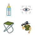 child fishing and other web icon in cartoon style vector image vector image