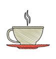 color crayon stripe cartoon cup of coffee with vector image vector image