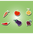 color icons with vegetables vector image