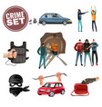 crime violence aggression icons set vector image