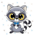 cute cartoon raccoon on a white background vector image vector image