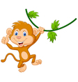 Cute monkey hanging giving thumb up vector image vector image