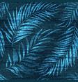 denim exotic palm leaf seamless pattern vector image vector image