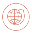 Earth and arrow around line icon vector image vector image
