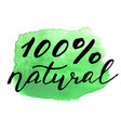 eco bio sign on watercolor stain natural organic vector image vector image