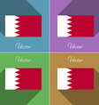 Flags Bahrain Set of colors flat design and long vector image