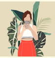 flat young woman taking selfie vector image vector image
