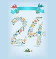 floral number twenty four with ribbon and birds vector image vector image