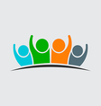 Four people holding hands Group of people vector image vector image