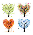 Four seasons trees - spring summer autumn winter vector image