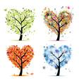 Four seasons trees - spring summer autumn winter vector image