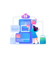 girl chooses clothes in network flat 2d vector image
