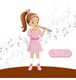 girl flute talent music concept background vector image