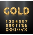 Golden alphabet Set of metallic 3d numbers vector image
