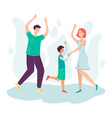 happy dancing family - father mother and son vector image vector image