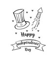 happy independence day hand draw vector image vector image