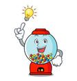 have an idea gumball machine mascot cartoon vector image vector image
