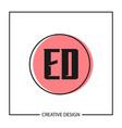 initial letter ed logo template design vector image