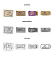 isolated object of ticket and admission logo set vector image vector image