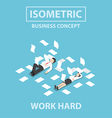 Isometric business people work hard vector image vector image