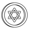 jewish coin icon outline style vector image