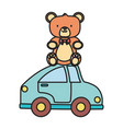 kids toy teddy bear sitting on blue car toys vector image vector image