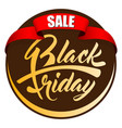label black friday with red ribbon vector image vector image