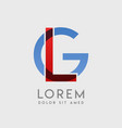 lg logo letters with blue and red gradation vector image vector image