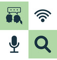 media icons set collection of wireless connection vector image vector image