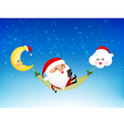 Merry santa claus cartoon holding smartphone on vector image