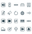 multimedia icons set with tape music application vector image vector image