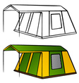old family camping tent vector image vector image