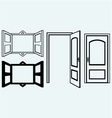Open door and window vector image vector image