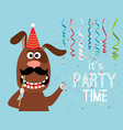 party dog card vector image vector image